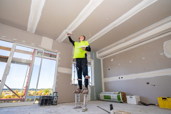 One of our professional members plastering in Christchurch